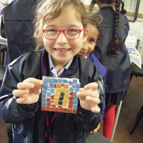 A year 3 showing their mosaic tile