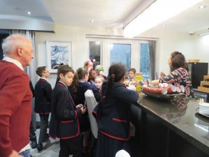 Year 5 & 6 getting refreshments at Kings Lodge