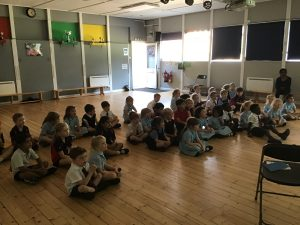 Lower School singing, waiting for instruction!