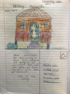 Y3 Postcard from Sunny the Meerkat from our book 'Meerkat Mail'