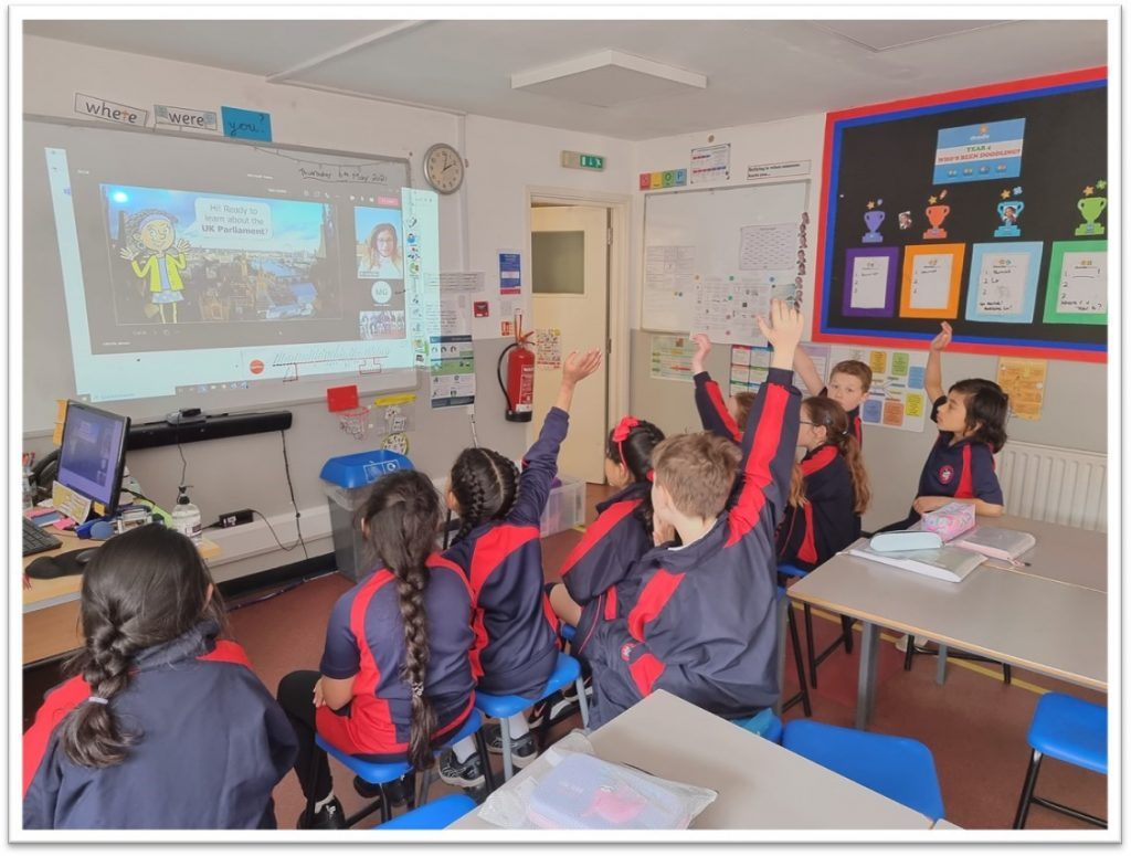 Year 4 Attending a the Virtual Parliament Workshop