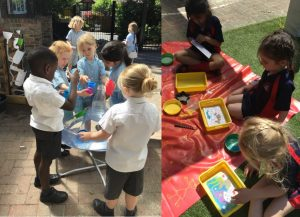 Exploring Water and Sand Art Outside