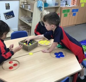 Reception sorting numbers and objects in maths